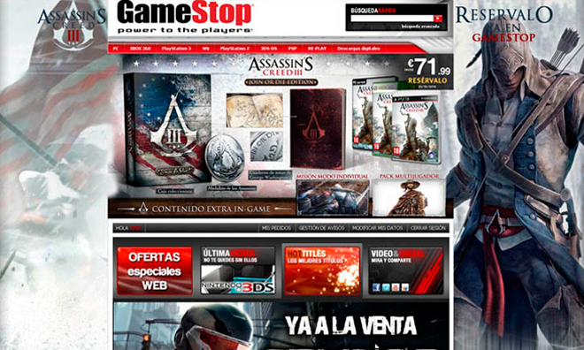 Web GameStop España/Portugal